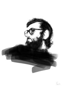 Julio Cortázar ilustrado. Autor desconocido.