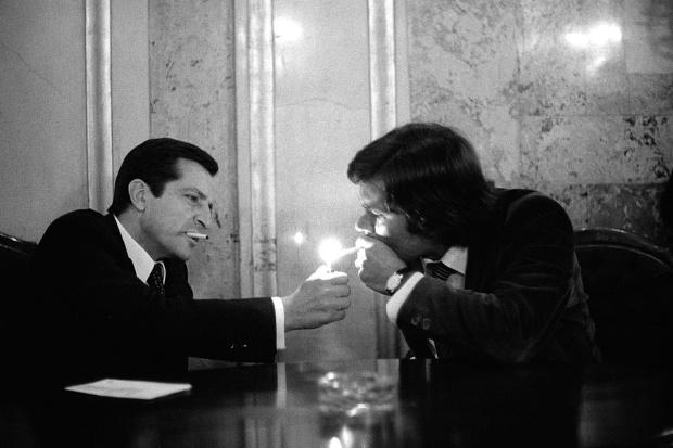 Adolfo Suárez y Felipe González mientras se fraguaban los Pactos de la Moncloa, 1978.